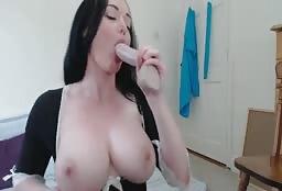 Busty Sex Maid Masturbates On Webcam